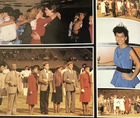 Circa 1985, Regina Blackwell end her week off with a bang as she is crowned Homecoming Queen at the game.