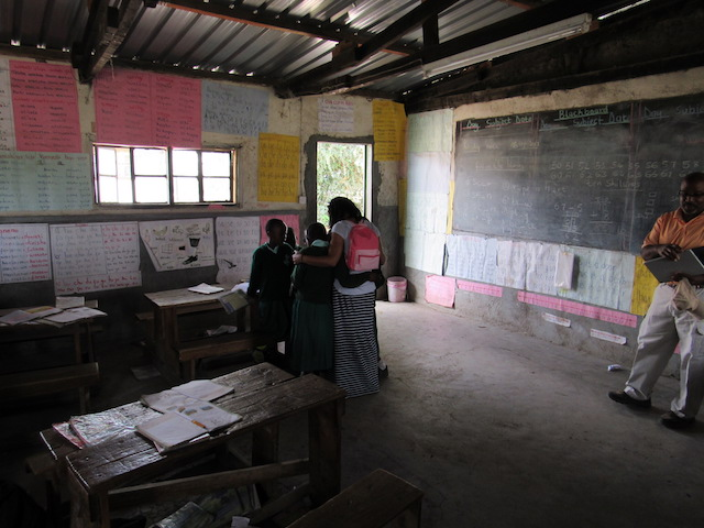 The classroom of the all-girls school shows handmade classroom materials.