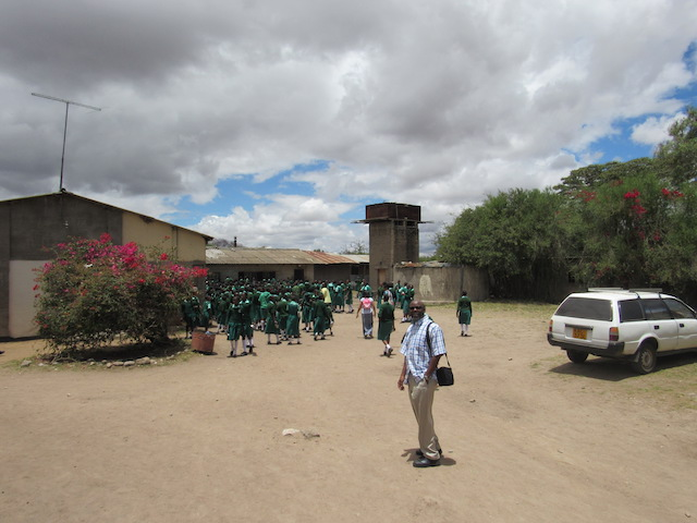Students in the all-girls school enter the building.