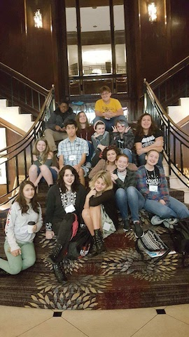The Menchville VTA attendants pose on the stairs of the Marriot Hotel.   From bottom left to top right: Sierra Rippeth, Sophia Ottofaro, Hannah Underwood, Cheyenne Conaway, Elliot Lawler, Kelly Ritenour, Kayla Borczynski, Calder Holloway, Oliver Smith-Nolker, Sophia Bauman, Shelby Woodward, Montel Hagley, Meredith Heath, Nathan Poplin.