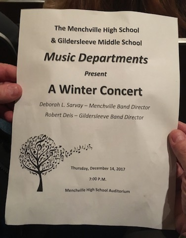 The Menchville High School Band and the band students from Gildersleeve Middle School came together for a combined holiday concert.