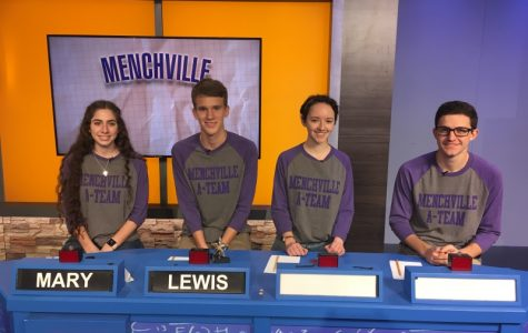 Members of Menchville's A-Team (from left to right) Mary Arnold, Lewis McAllister, Laura Madler, Jacob Hinson, film an episode of Battle of the Brains in Richmond.