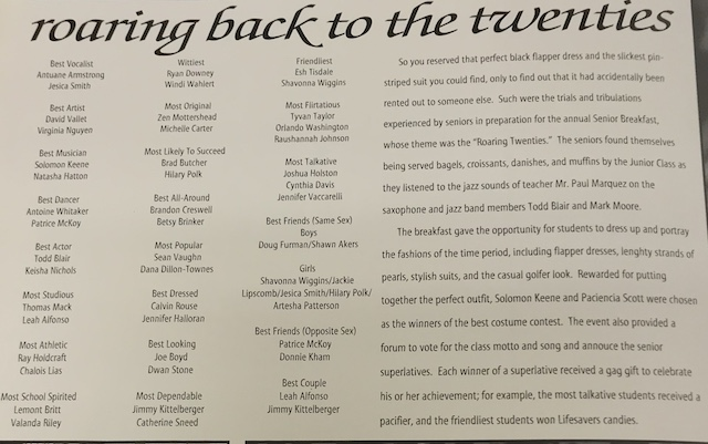 Senior Breakfast of 1997 take it back with the theme of Roaring Back to the Twenties, with a list of the senior class superlatives.