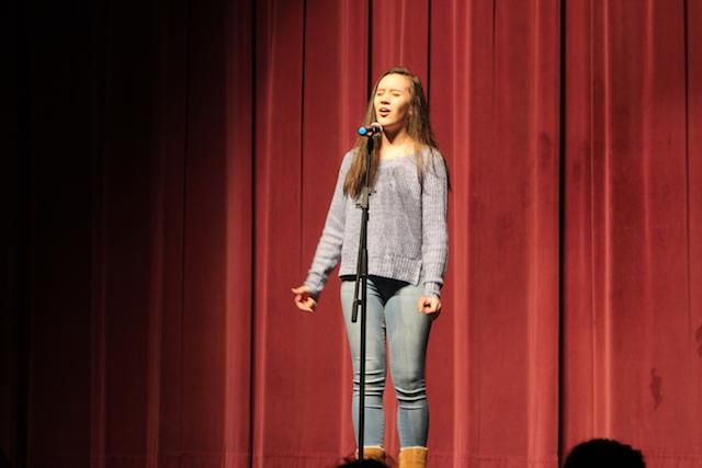 Autumn Moore sings for Menchville's Got Talent.