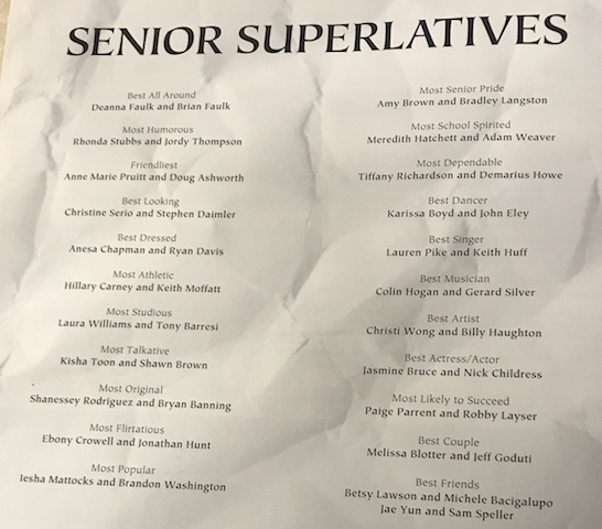 Class of 2002 who were nominated for Senior Superlatives.