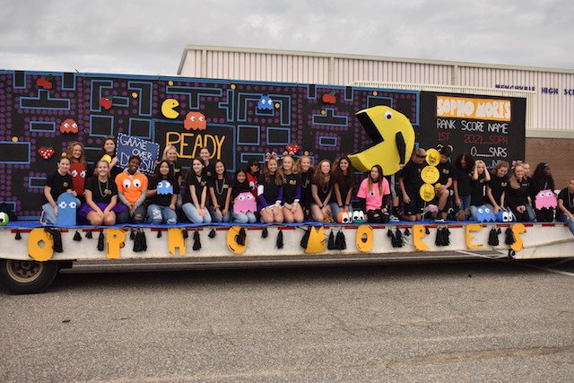 The Sophomores pose on their Pac-Man themed float for Menchville's annual Homecoming Parade