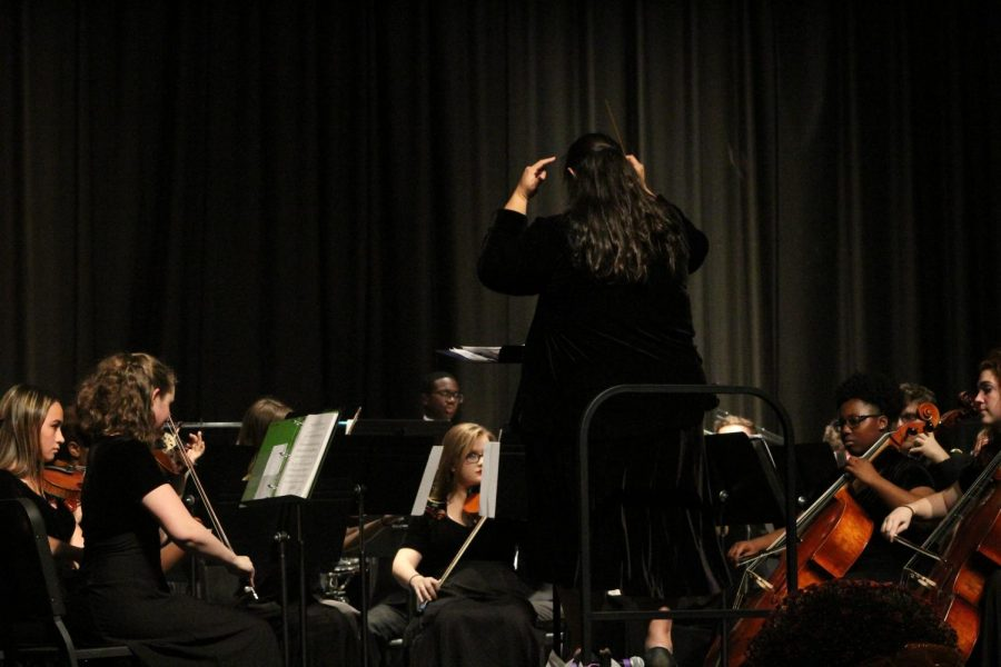 Anna Moyer directs the Menchville Orchestra.