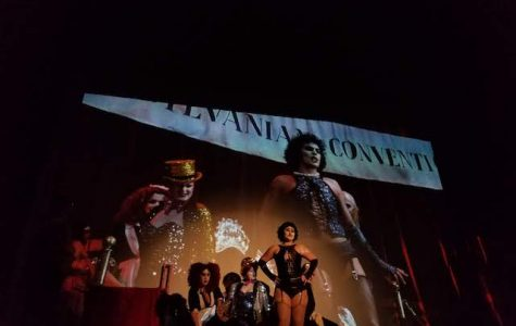 The cast of Rocky Horror performs at the American Theater on Halloween.