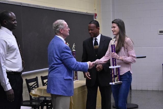 Rachel Smith receiving her award for Best Senior of the Cross Country team.