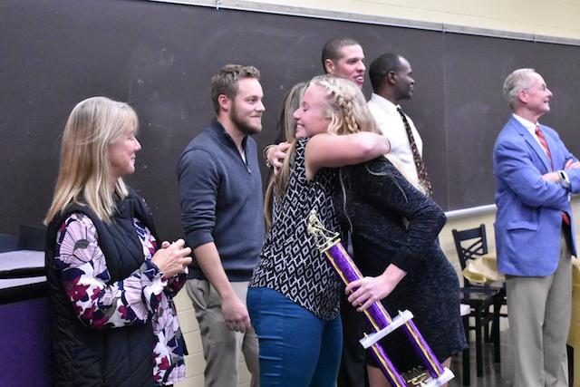 Morgan Merritt receiving her award for Best Senior on the Field Hockey team.