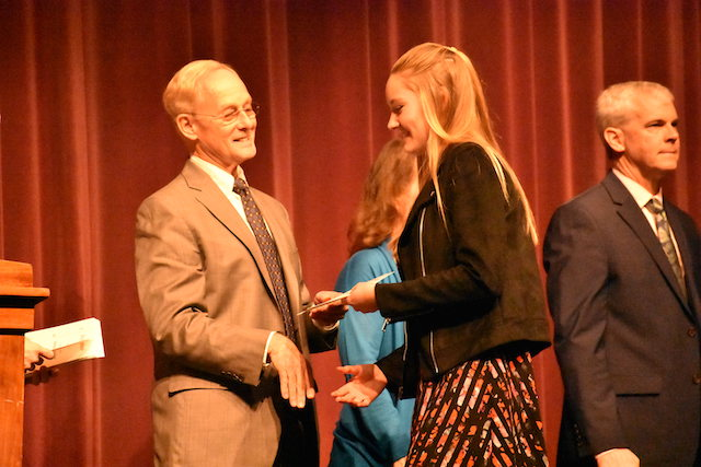 New members were inducted into the National Science Honor Society Wednesday, January 16.