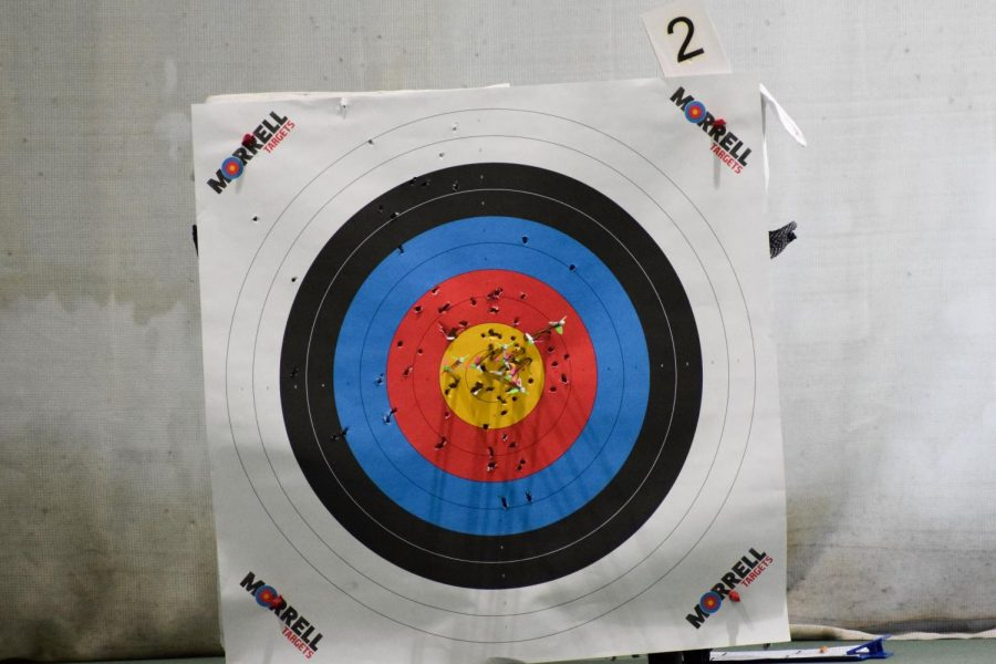 One of the many archery targets after a round of shooting.
