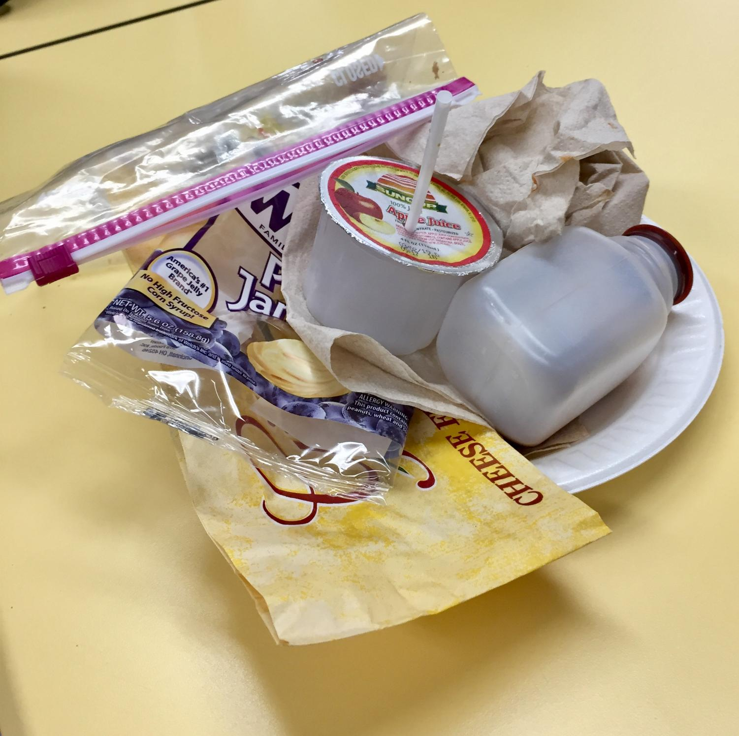 Trash that was left on the table after first lunch