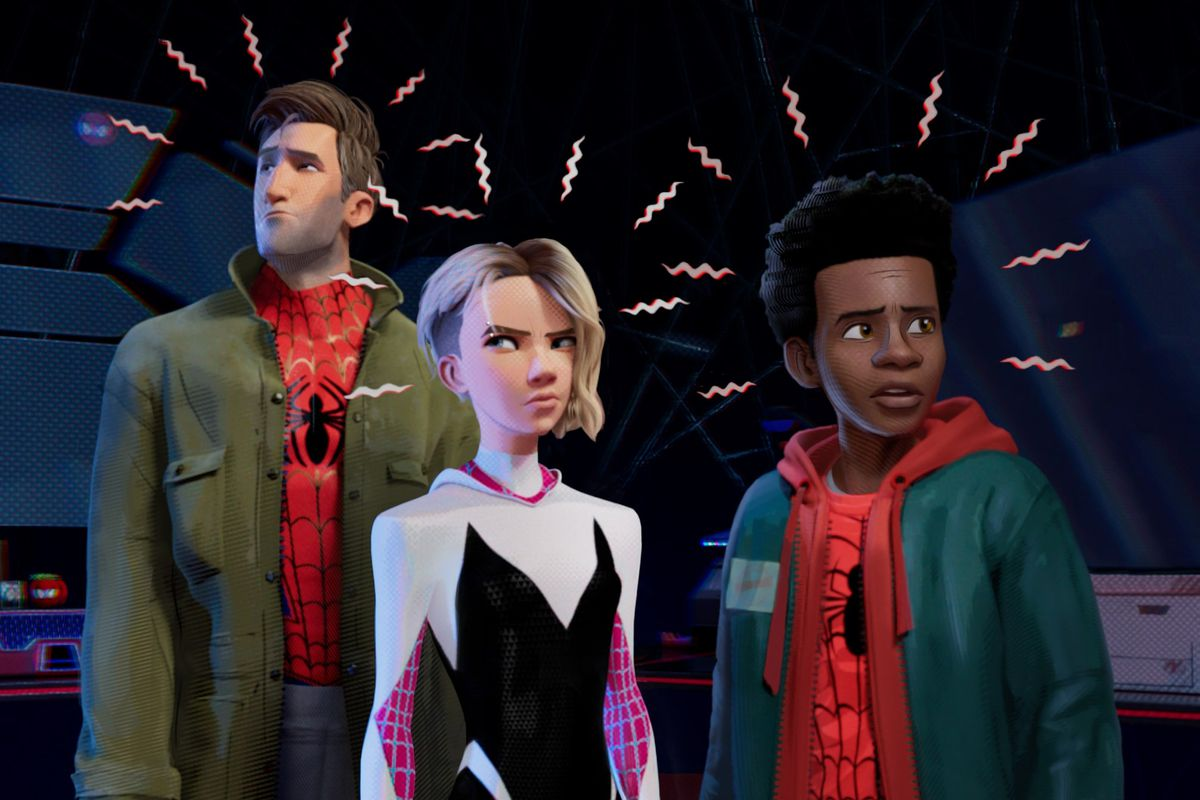 Peter Parker, Gwen Stacey and Miles Morales sense a threat with their spider senses.