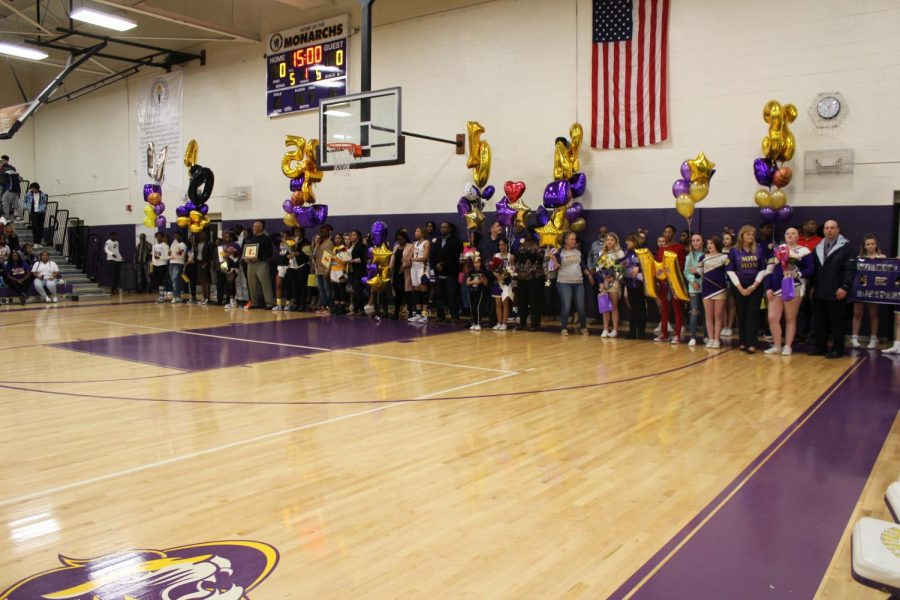 All the seniors and their families for Senior Night 2019