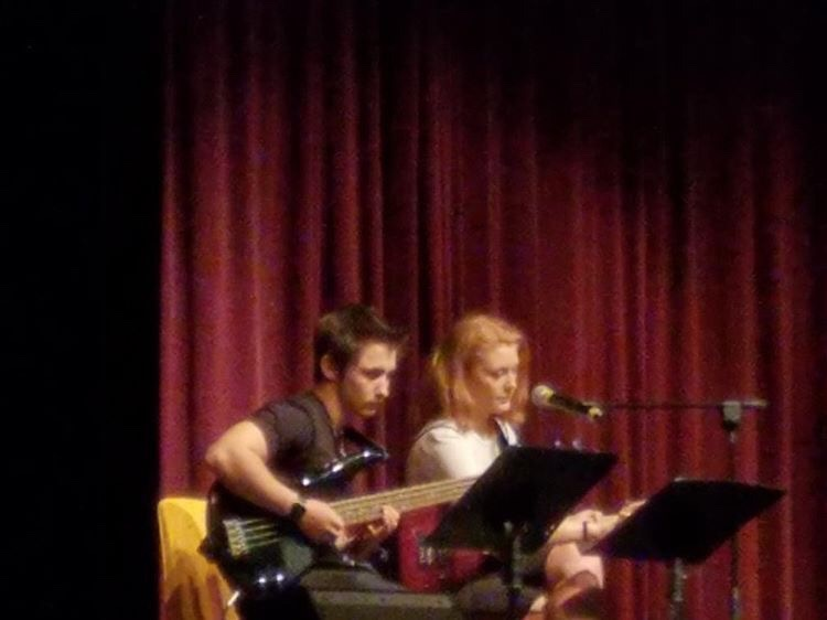 Tori Rimes and Dalton Westphal performing a duet at the talent show