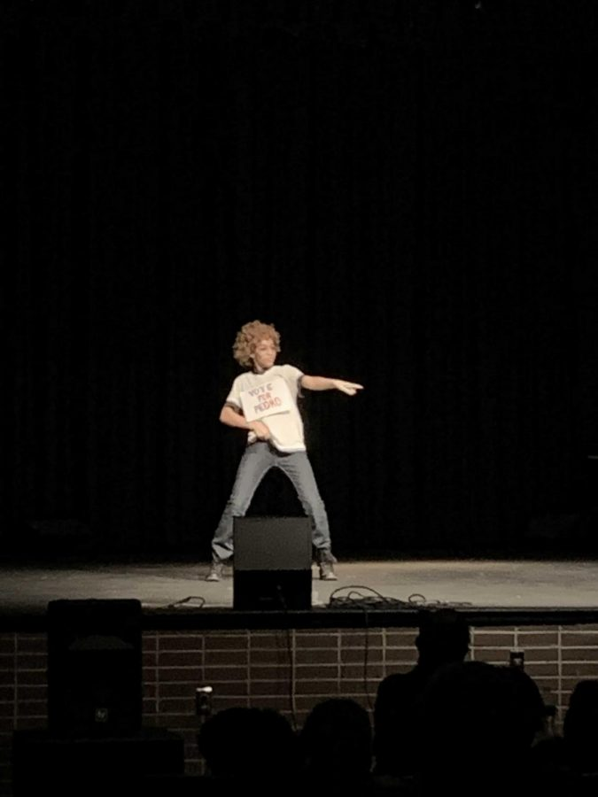 Desiree Harrington reenacting a dance routine from the movie Napoleon Dynasty for the talent show