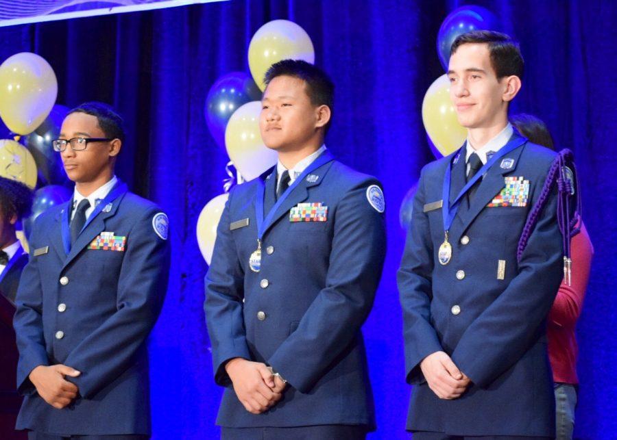 Kayshonn DePaul, Howard Ly, and Adam Rivera represented Air Force JROTC at the STAR Awards.