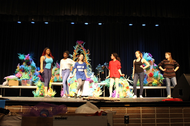 From left to right: Imilia, Amber, Kayla Borcynski, Hazel, Hailey James, and Sarah Clark rehearse their scene as Ariels sisters.