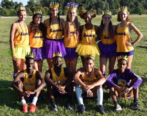 Menchville Cross Country Seniors (listed from left to right, back row) Lauren Satchell, Ana Martinez, Marina Emblidge, Hannah Ferguson, Ari Riddick, Mikayla Hartman and Emme Batcha, (front row) Janah Beverly, James Aldridge, Davin Fermaintt and Qua Thomas pose for a picture after the senior meet.