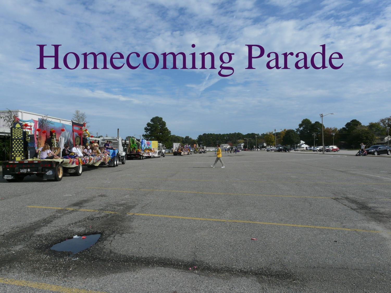 The+parade+floats+line+the+Menchville+parking+lot+for+Homecoming+on+Saturday.