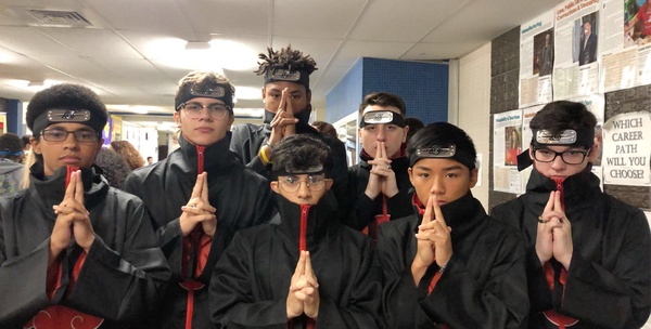 A+whole+posse+of+Akatsukis+from+Naruto+were+seen+walking+through+the+halls.