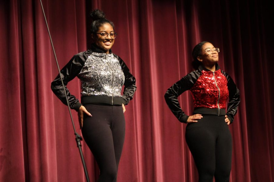 Marissa Ruiz-Allen and Abrianna Carter perform a dance routine during the winter concert.