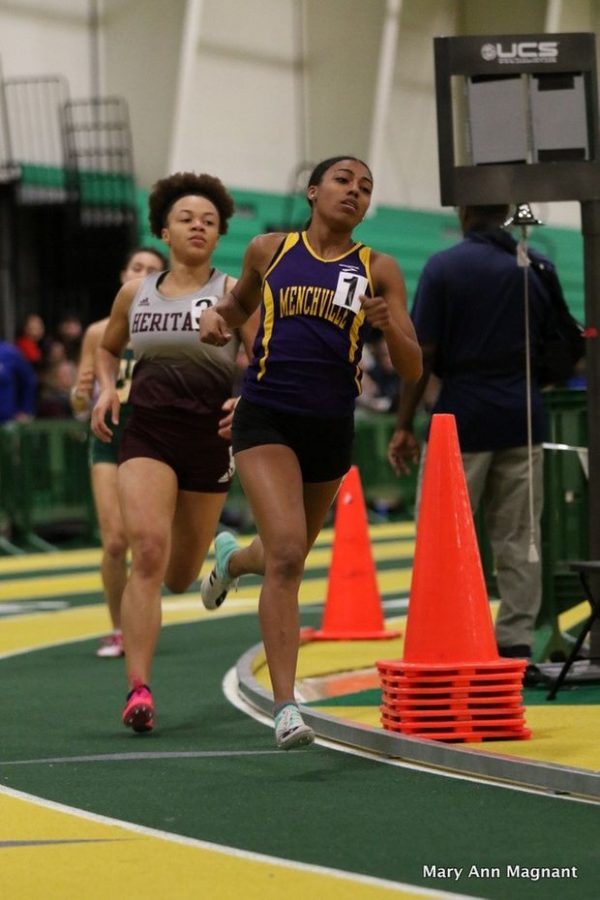 Senior Ari Riddick runs in girls 1000 meter dash atVHSL Class 4 Region A Indoor T&F Championship on February 21st