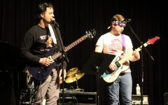 As per tradition, guitar teacher Pete Mercier gets onstage to perform with the band.