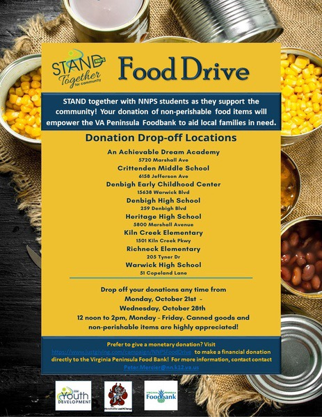 Fare Share partnered with NNPS Youth Development to organize and host a city-wide canned food drive.