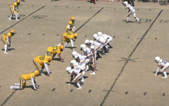 Screen Shot from the opening drive of the Menchville-Bethel Football game on March 6, 2021.  The Menchville Monarchs won 20-14.