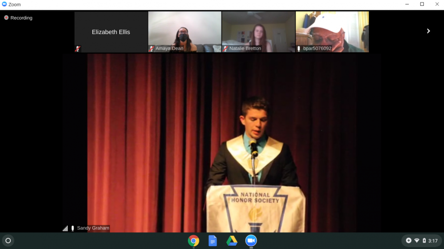 NHS President Chris Ware welcomes inductees and guests to the induction ceremony