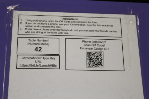 QR Code on Lunch Tables at Menchvile High School